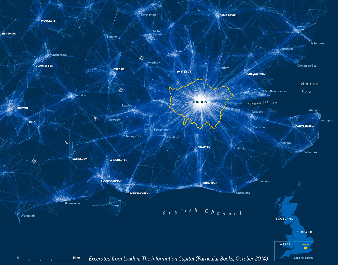 Commuter flows into London, taken from the 2011 Census.